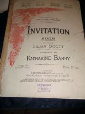 ANTIQUE SHEET MUSIC 1907 INVITATION SONG MADAM MELBA SCOTT BARRY METZLER